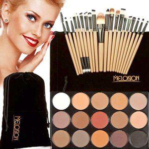 Koly Pinceaux Maquillage Professionnel 15 couleurs de maquillage Correcteur Contour Palette eyeshadow palette + 20 Pcs kit pinceau de…