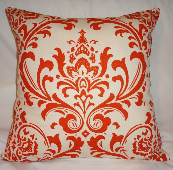 Orange Throw Pillows For Bed : Damask Pillow Natural & Sweet Potatoe Deep Orange 16X16 Accent pillows, Pillows for bed and Orange