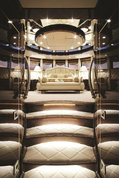 Luxury bedroom on our private yacht