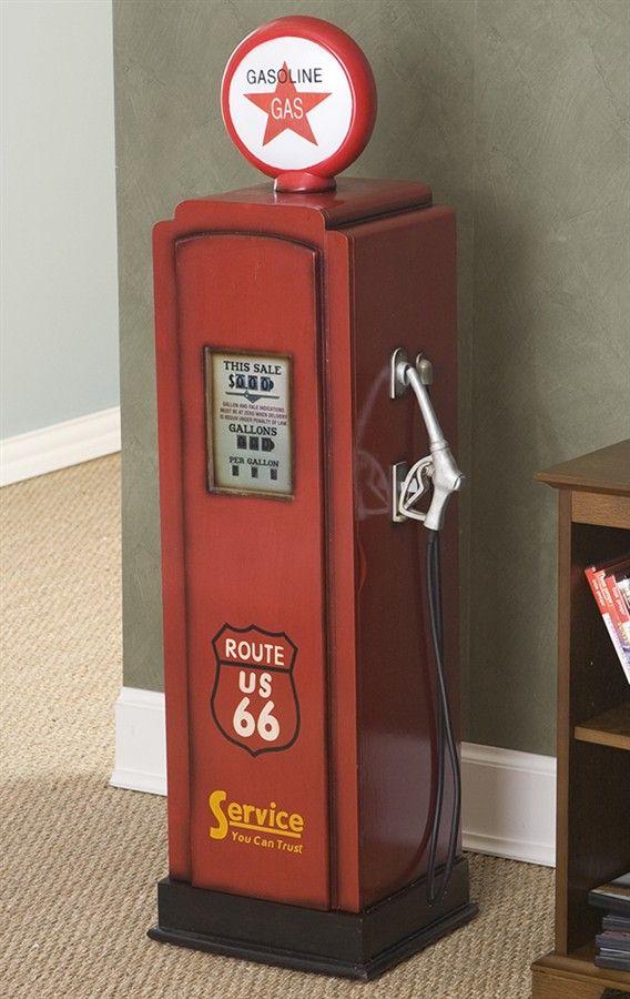 Retro Media Cabinet w Route 66 Gas Pump Design