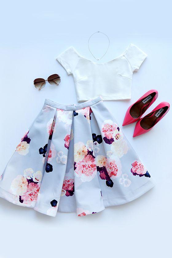Love the skirt. Will not do full crop top tho. Keepsake Divide Light Grey Floral Print Midi Skirt.