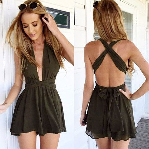 Product Description: Women Fashion Casual Sexy Back Cross Strap Deep V Neck…