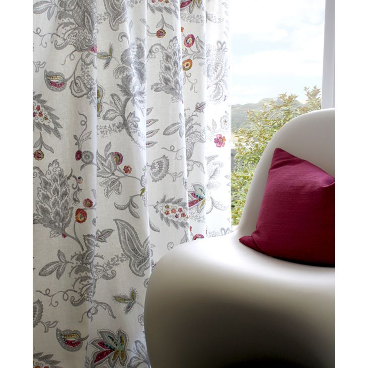 Baroque - a glorious floral mono-tone print with a pop of colour. Love it! In stock now.