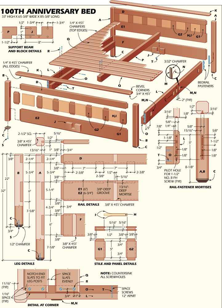 100th anniversary bedroom suite build a mahogany bed for Bunk house plans
