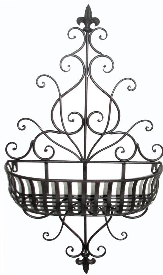 Tuscan Wrought Iron Scrolling Fleur De Lis Wall Planter