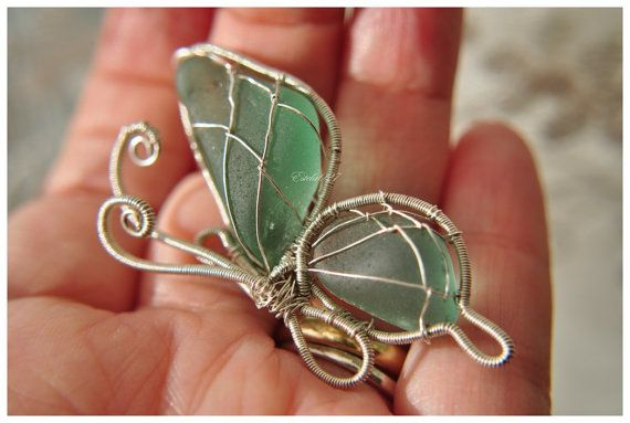 Beautiful butterfly design with sea glass! Harmony in your hands. Genuine Teal Sea Glass Jewelry by Estela027, $99.00