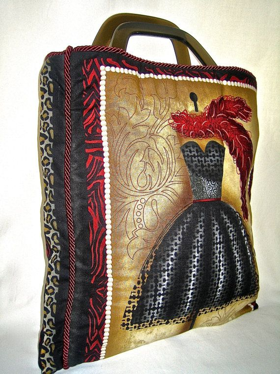 Handmade Fabric Tote Red Black Handbag by ArabellaBlossomsBags, $99.00