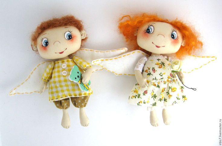 Купить Парочка ангелочков - комбинированный, мальчик, мальчик и девочка, ангелочки, ангелочек, ангел-хранитель, ангелок
