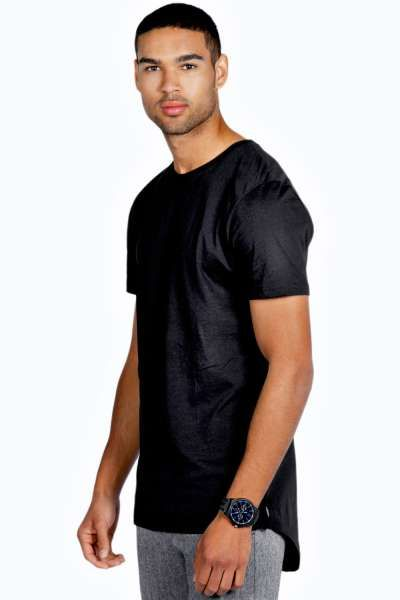Longline T Shirt with Scooped Back Hem at boohoo.com ...