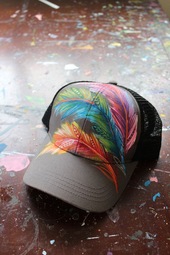 Hand Painted Feather Trucker Hat by YellowBirdBohemia on Etsy, $58.00