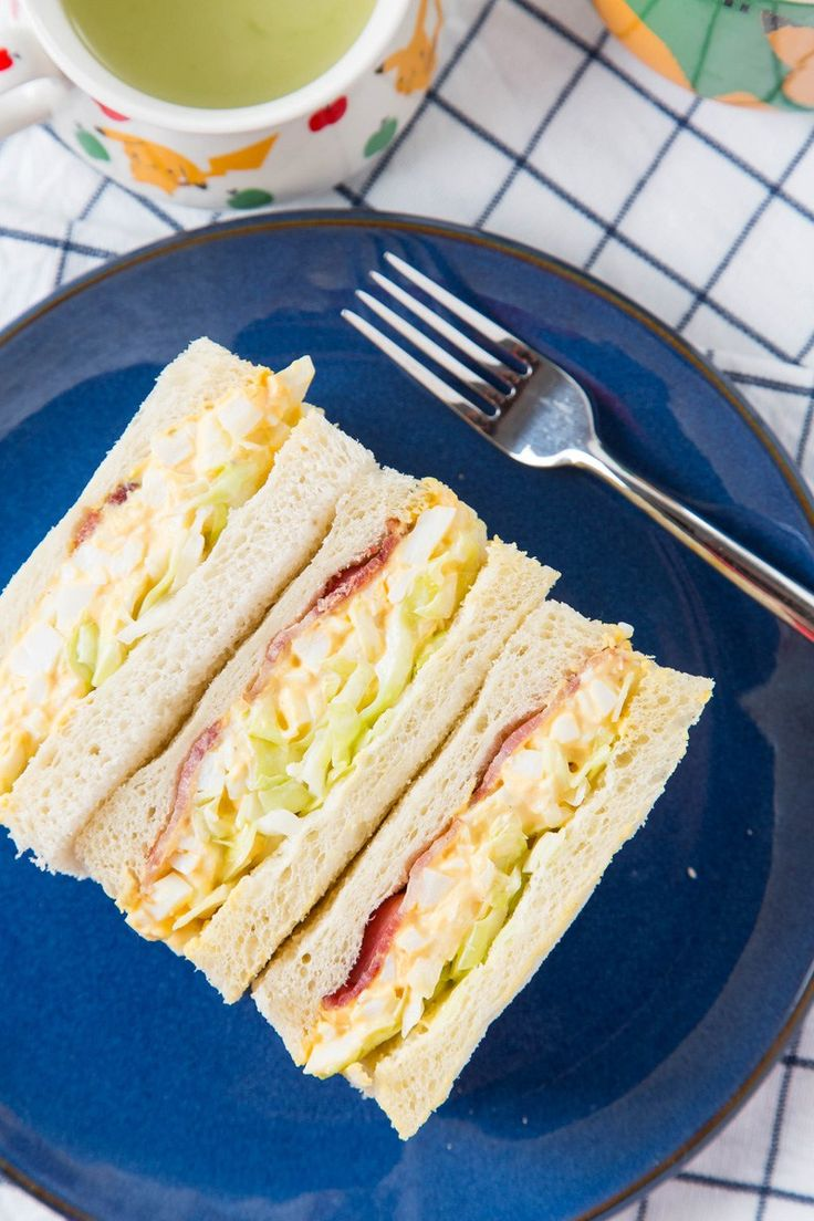 Japanese Egg Salad Sandwich with Bacon and Coleslaw #sandwich #eggsalad #japanesefood | The Missing Lokness