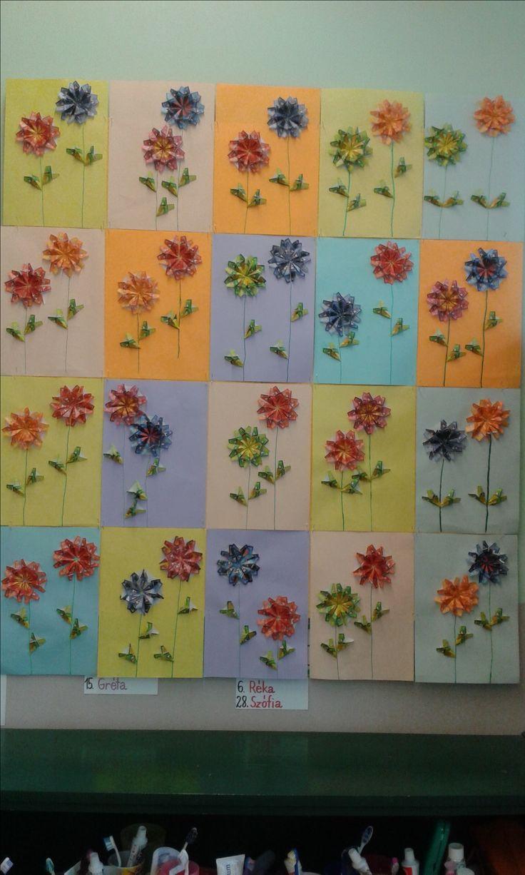 origami teafilter virágok