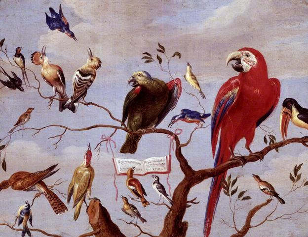 A Chorus of Birds - Jan van Kessel  http://www.bbc.co.uk/arts/yourpaintings/paintings/a-chorus-of-birds-35556