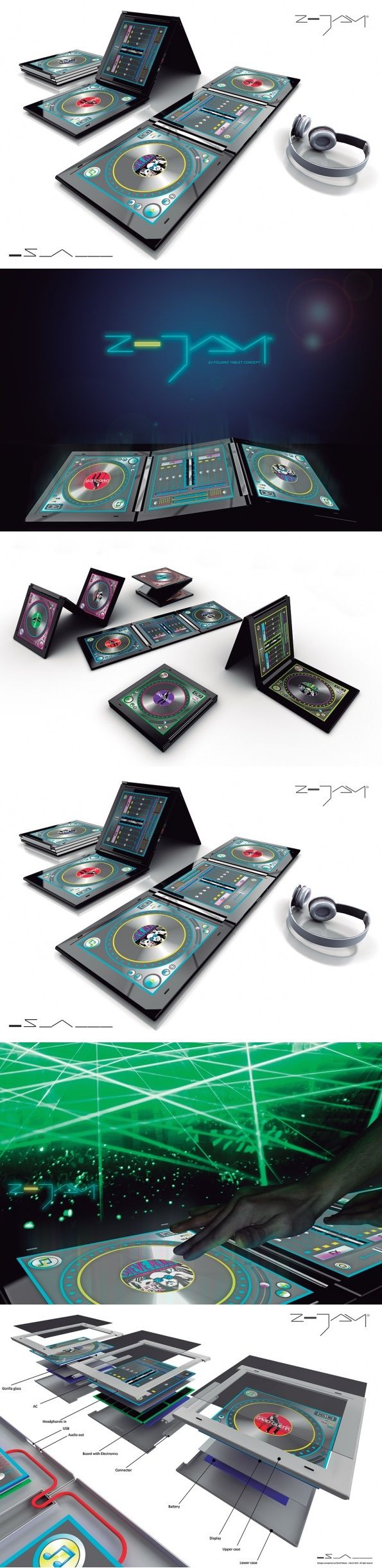 There are loads of DJ apps for tablets, but they lack true usability when it comes time to mix. The Z-JAY concept allows the user to mix songs and apply effects combining all the necessary DJ equipment (one mixer and two decks) into one integrated system. #DJ #System #Music #Audio #YankoDesign