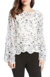 Karen Kane Embroidered Bell Sleeve Blouse available at #Nordstrom