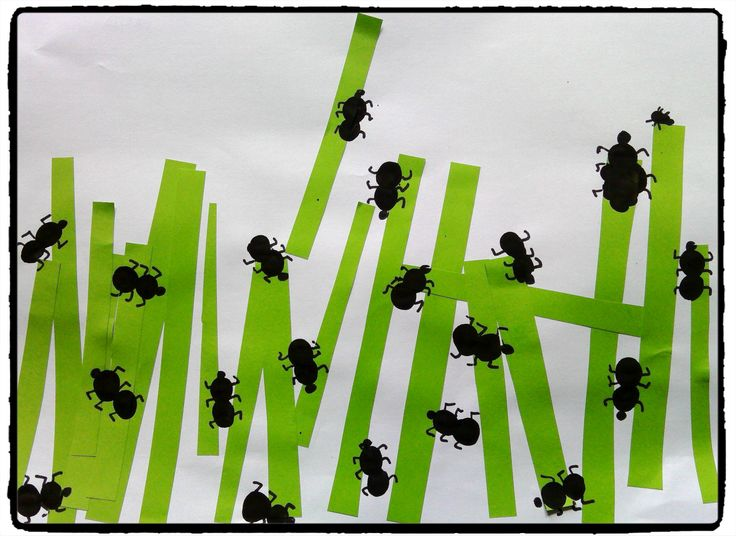 fourmis en empreintes de doigts, jardin, herbe, bricolage enfant, printemps