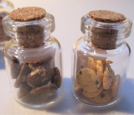 Dollhouse Miniature Chocolate Chip Cookies in Jar 1:12 Scale