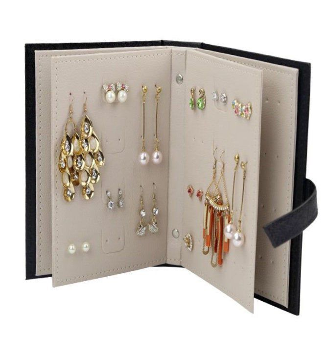 Earring Jewelry Box Storage Organizer Case Earring Holder Book In 2020 Earring Jewelry Box Stud Earring Storage Stud Earring Organizer