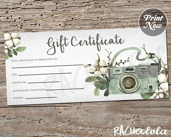 Printable Photography Gift Certificate Template Spring Photo Session Voucher Summer Fall Rustic Card Instant Download Photographer Photography Gift Certificate Template Photography Gift Certificate Gift Certificate Template