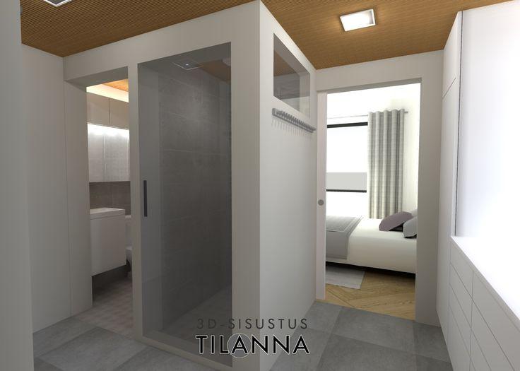 3D- sisustussuunnittelu / skandinaavinen harmaa pukeutumishuone, katossa sormipaneeli. Scandinavian grey and white dressing room, woodpanel roof / 3D-sisustus Tilanna,  sisustussuunnittelija Jyväskylä