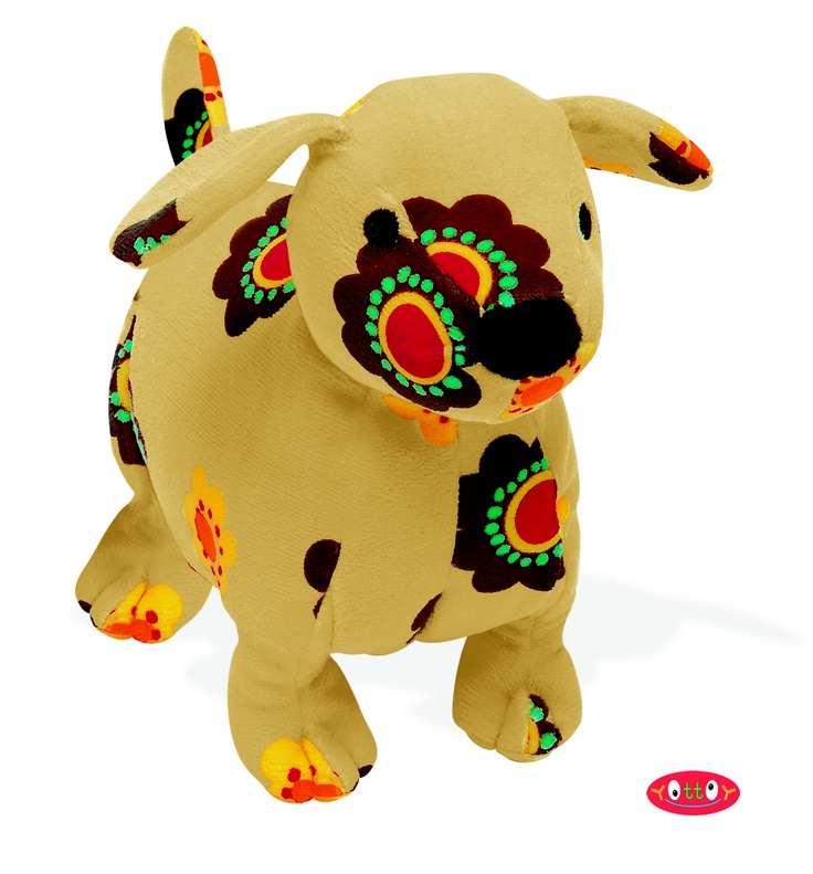 "Magalina Dog Soft Toy 8""  These soft toys, made of super soft colorfully printed velour with embroidered and hand-sewn details, are perfect for hugging, holding and gift giving!   Magalina the Dog hopes to warm your heart, and is quite comfortable in a floral pattern of yellows and browns.    Item #84307  $17.00"