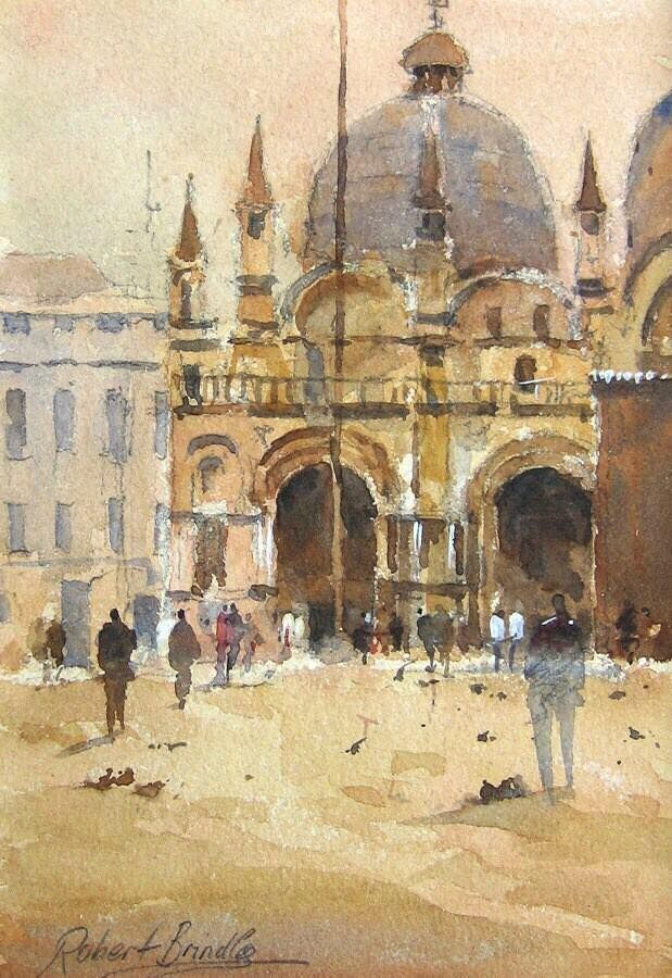 Robert Brindley 'Basilica San Marco, Watercolour sketch on tinted paper.