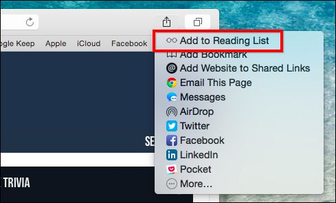 "The Best Ways to Save Webpages to Read Later: In Safari, hit ""Share"" button (arrow on a page), Then Add to Reading List."