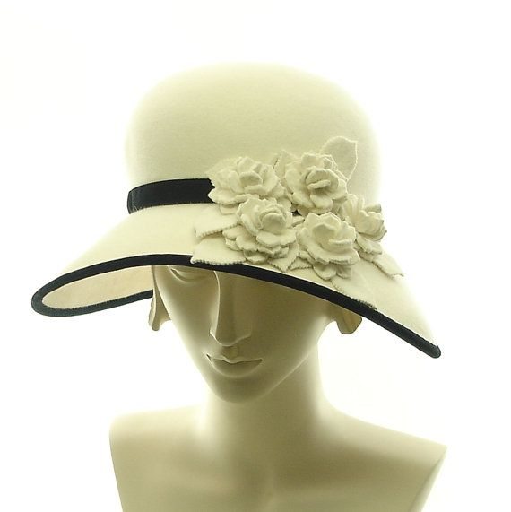 Vintage Style Cloche Hat for Women - Winter White Fur Felt Hat - Downton Abbey Fashion Hat