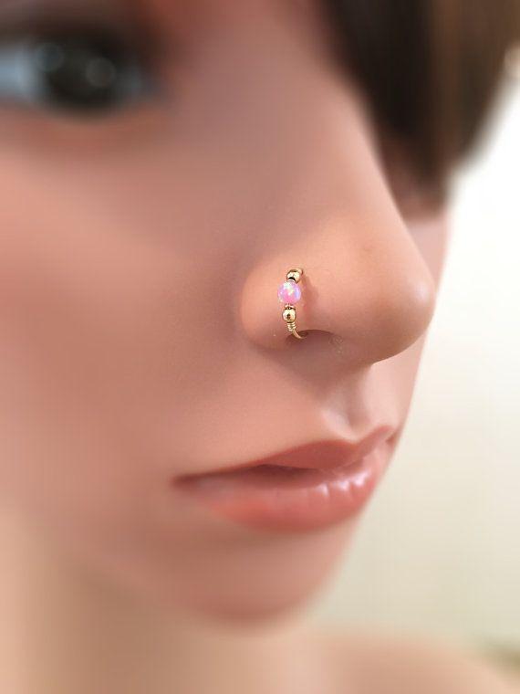 Fake nose ring gold opal fake nose hoop opal fake nose