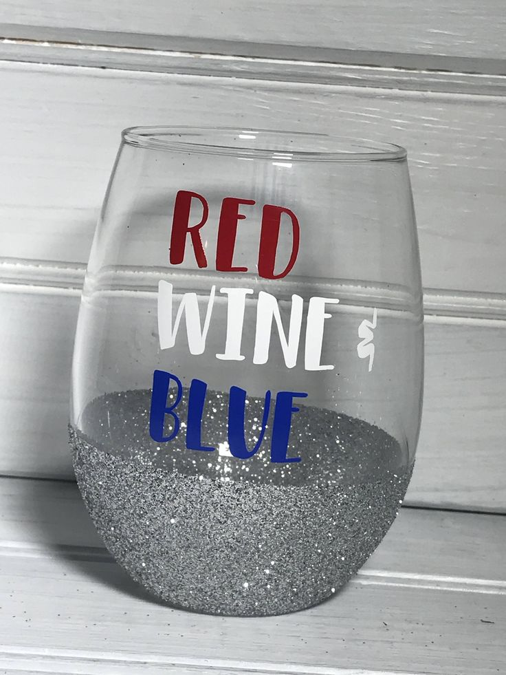 Red, Wine, and Blue Wine Glass, Stemless wine glass, Patriotic wine glass, America Wine Glass, 4th of July wine glass, by OhMyGlitterDesigns on Etsy