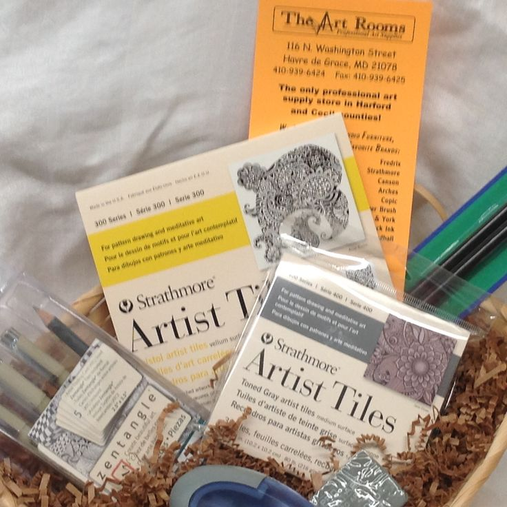 A wonderful Zentangle Gift Basket for the artist who enjoys the art of meditation and relaxation is available at The Art Rooms Professional Art Supplies!