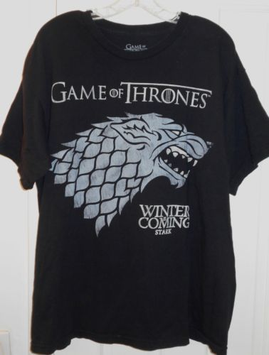 Mens-HBO-Game-of-Thrones-Winter-is-Coming-Stark-Direwolf-Black-Cotton-T-Shirt-XL