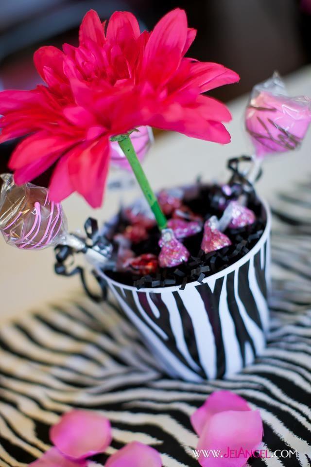 Zebra print flower pot centerpieces birthday party
