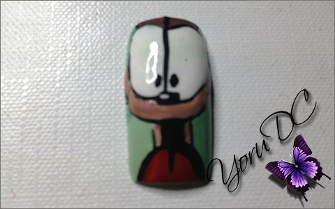 Odie - Garfield Nail Art. Made by request.  Materials Used: - Base Coat - Mint Green Nail Polish - Green Nail Polish - Light Brown Nail Polish - Medium Brown Nail Polish - Dark Brown Nail Polish - Red Nail Polish - White Nail Polish - White Striper Polish - Black Striper Polish - Black Nail Art Pen - Top Coat  Tools Used: - Square Tip Detail Brush - Practice Finger Nail Support  Type Nail: - Square Thumb Nail size 0  Inspiration: http://www.hdwpapers.com/walls/odie_wallpaper_iphone-other.jpg