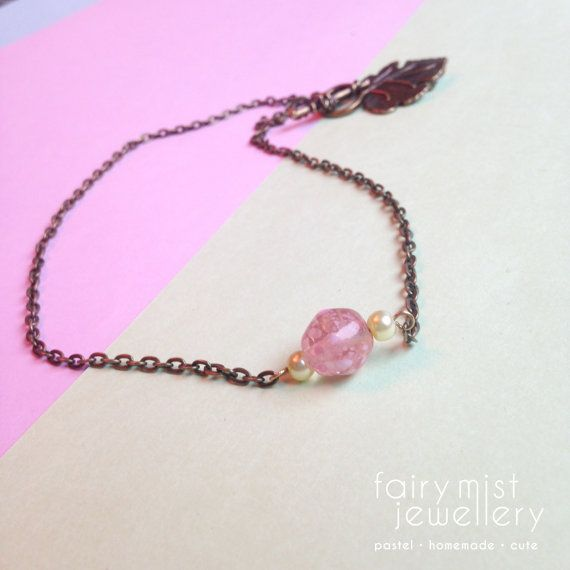 Pink Necklace Simple Bronze Chain Pink by fairymistjewellery