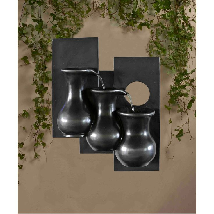 Three Jugs Gunmetal Hanging Wall Fountain | Overstock.com Shopping - Great Deals on Outdoor Fountains