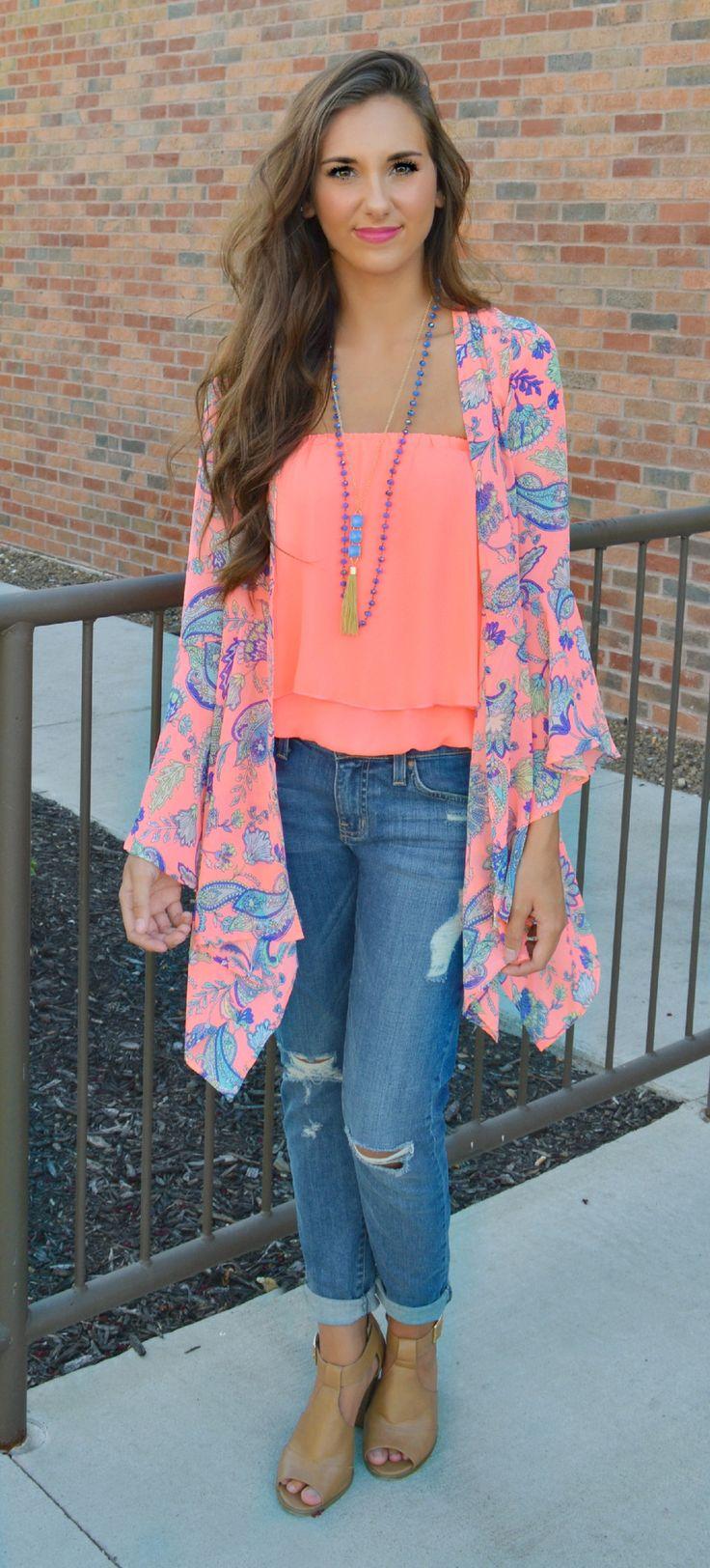 Boho Beauty Paisley Kimono | Haute Pink Boutique ...