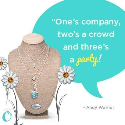 Three's a Party! An Origami Owl Party is a Jewelry Bar.  Origami Owl #AndyWarhol #quotes