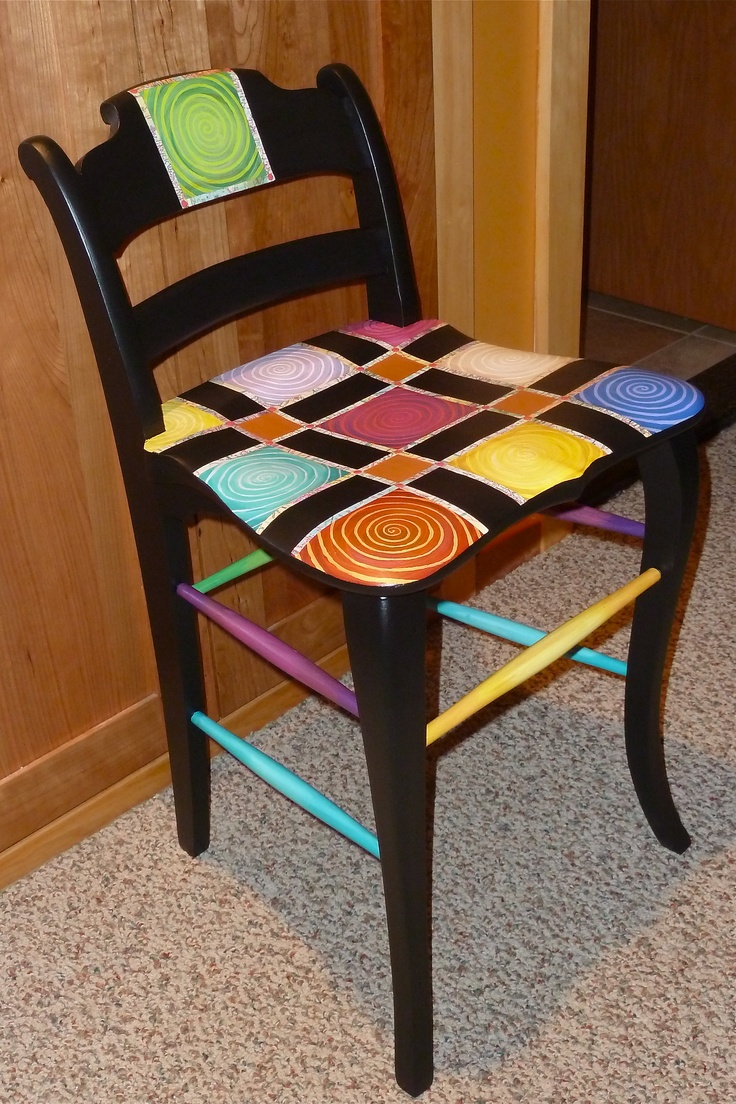 Swirly chair; acrylic, glaze, paper map strips (Michelle Taylor)