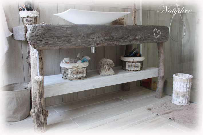 meuble de salle de bain en bois flotté NATYDECO    www