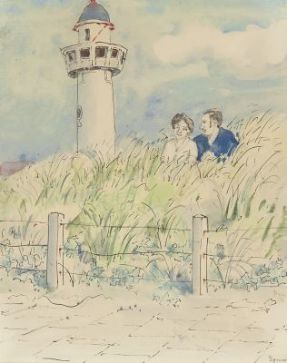 'Harm' Henrick Kamerlingh Onnes (1893-1985) A young couple in the dunes, Egmond aan Zee. Pen ink and watercolour on paper. Collection Simonis & Buunk, The Netherlands