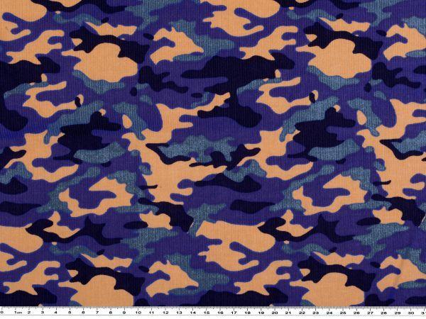 Velluto a coste fine, camouflage, blu, alt. 150cm