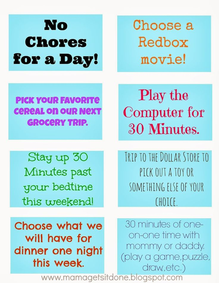 Chore Chart and Printable Reward Coupons