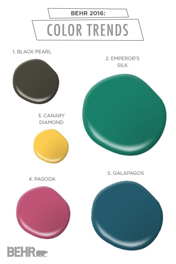Classic shades get a sophisticated makeover with these 2016 BEHR Color Trends. For your next home design renovation, take note of these unique hues—such as jewel-toned Emperor's Silk, fresh Canary Diamond, and modern Black Pearl.
