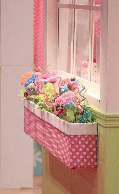 Indoor flower box...great for a little girls room or to change seasonally for your shop or home. Fun Touch.