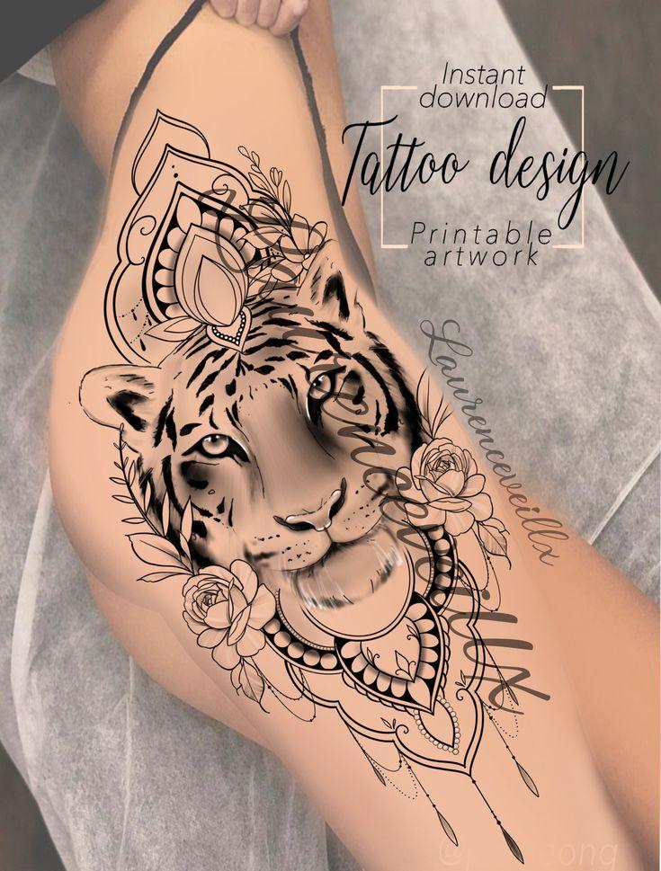 Printable Tiger Mandala Flowers Roses Tattoo Design Available on Etsy @laurenceveillx