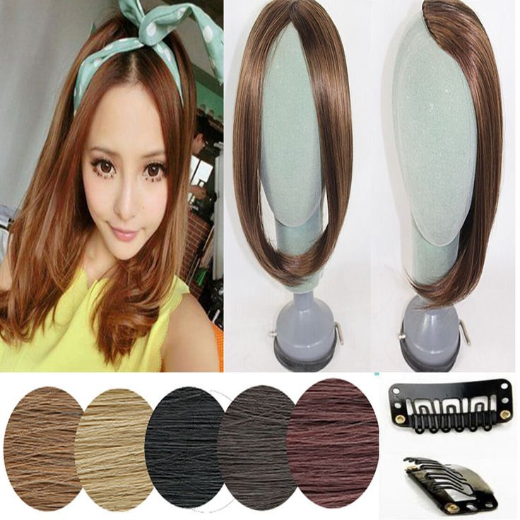 Short Cut Lace Front Black Brown Blonde Women With Side Bangs Real Natural Clip in Hair Extensions USA