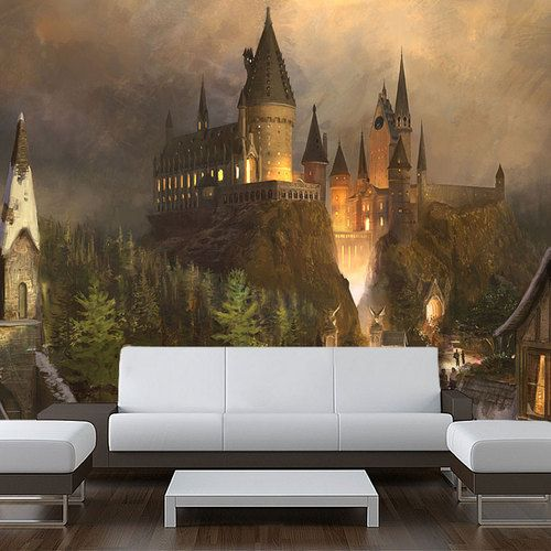 Wall sticker mural harry potter world hogwarts decole for Castle wall mural sticker