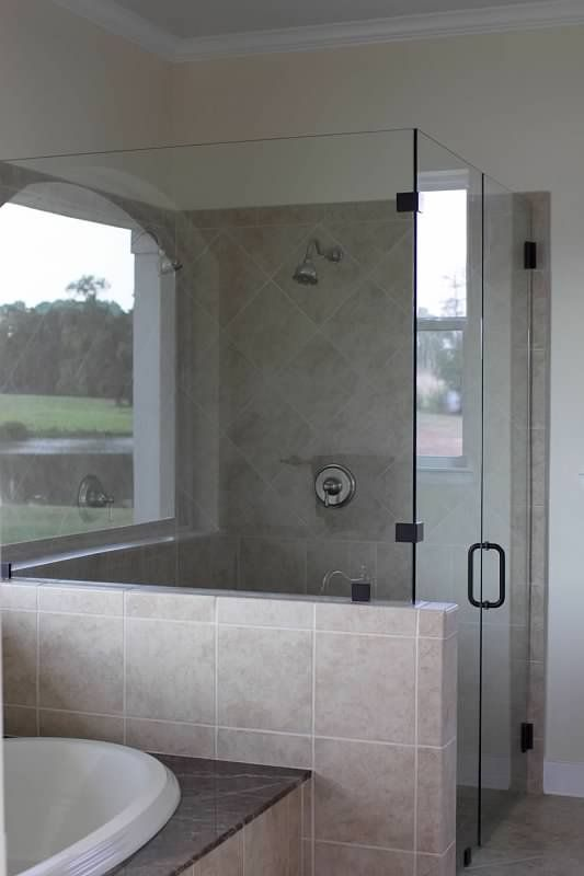 Glass shower w half wall master bathroom pinterest for Half wall shower glass