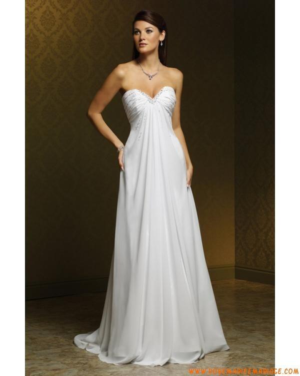 Robe A-ligne bustier en satin et mousseline ornée de plis et de perles robe de mriée simple